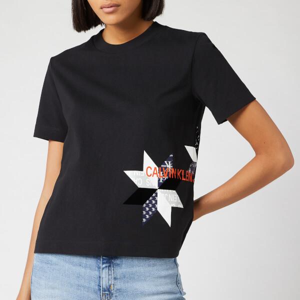 Calvin Klein Jeans Women's Institutional Quilt Slim Fit T-Shirt - CK Black