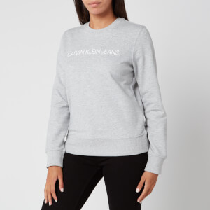 Calvin Klein Jeans Women's Institutional Core Logo Crew Neck Sweatshirt - Light Grey Heather