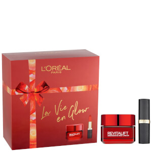 L'Oréal Paris La Vie En Glow Moisturiser and Lipstick Gift Set For Her 2 x 50ml (Worth £22.98)