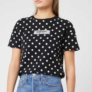 Superdry Women's Studio 395 Polka Dot Aop Portland T-Shirt - Black