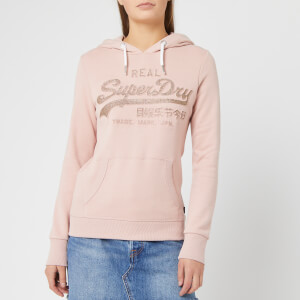Superdry Women's Vintage Logo Glitter Emboss Entry Hoodie - Copper Blush