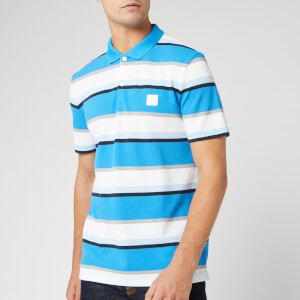 BOSS Men's Pblock Stripe Polo Shirt - Blue/White