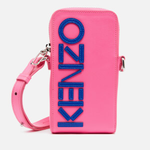 KENZO Women's Leather KENZO Logo Phone Case On Strap - Pink
