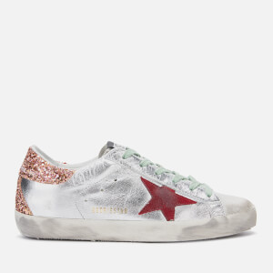 Golden Goose Deluxe Brand Women's Superstar Leather Trainers - Silver/Sparkling Glitter Red