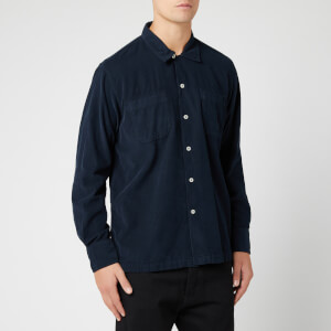 Universal Works Men's Super Fine Cord Garage Shirt II - Navy