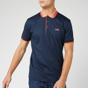 BOSS Men's Paddy 1 Polo Shirt - Navy/Orange Collar