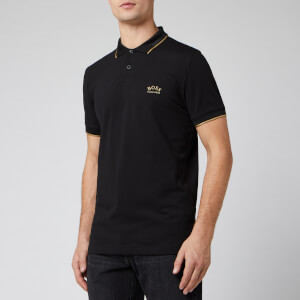 BOSS Men's Paul Curved Logo Polo Shirt - Black/Gold
