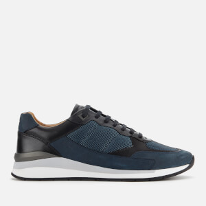 BOSS Men's Element Leather/Nylon Running Style Trainers - Navy