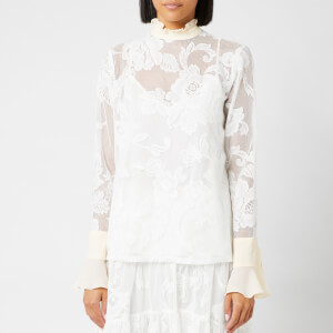 See By Chloé Women's Floral Detail Sheer Blouse - Iconic Milk