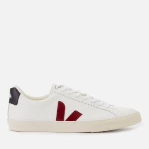 Veja Men's Esplar Logo Leather Low Top Trainers - Extra White/Marsala/Black