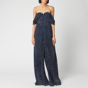 Self-Portrait Women's Off The Shoulder Plumetis Jumpsuit - Navy
