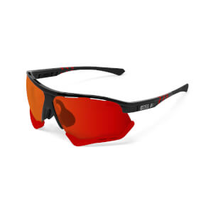 Scicon Aerocomfort Sunglasses SCN-XT Photochromic Red Mirror Lens - Black Gloss Frame