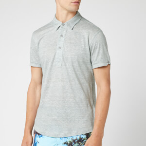 Orlebar Brown Men's Sebastian Linen Stripe Polo Shirt - Pewter/Cloud