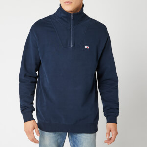 Tommy Jeans Men's Solid Mock Neck Sweatshirt - Black Iris