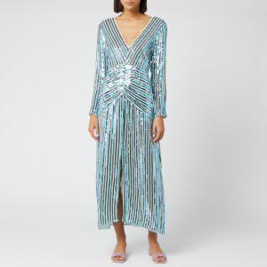 RIXO Women's Emmy Diagonal Sequin Stripe Dress - Blue