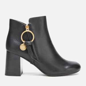 See By Chloé Women's Leather Heeled Ankle Boots - Nero