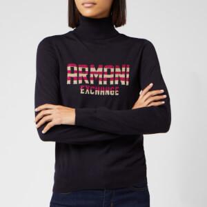Armani Exchange Women's Logo Knit Pullover - Blueberry
