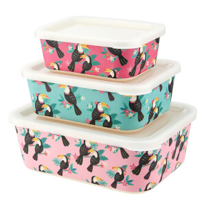 Sass & Belle Toucan Bamboo Lunch Boxes (Set of 3)