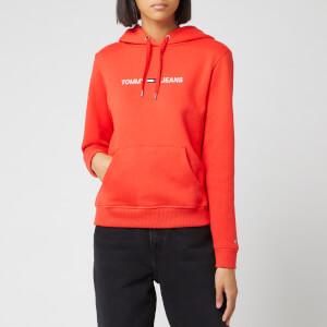 Tommy Jeans Women's Clean Linear Logo Hoodie - Flame Scarlet