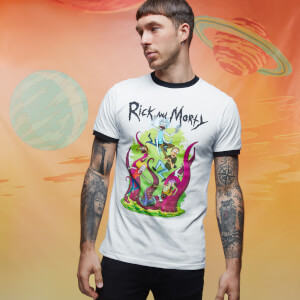 Rick and Morty Get Schwifty 70s Ringer Ringer - White/Black