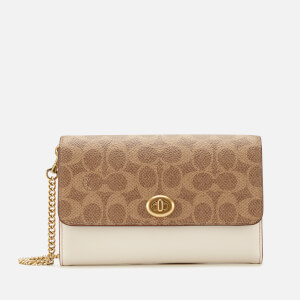 Coach Women's Smooth Leather Turnlock Chain Cross Body Bag - Tan/Chalk