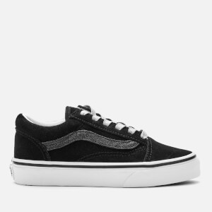 Vans Kids' Old Skool Glitter Sidestripe Trainers - Black/True White