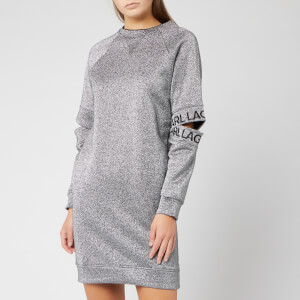 Karl Lagerfeld Women's Cut Out Sleeve Sweat Dress - Silver