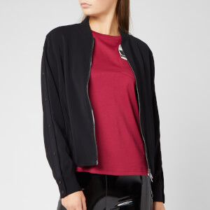 Karl Lagerfeld Women's Bomber Jacket with Snap Sleeves - Black