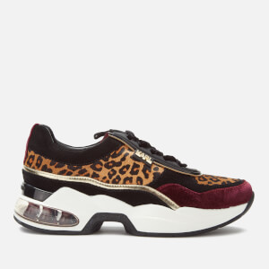 Karl Lagerfeld Women's Ventura Leopard Mix Runner Style Trainers - Wine Mix