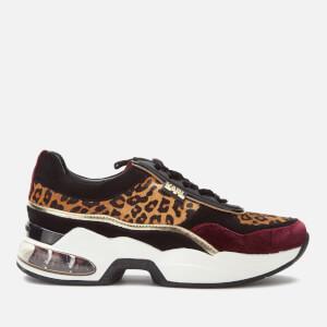 Karl Lagerfeld Women's Ventura Leopard Mix Runner Style Trainers - Wine Mix