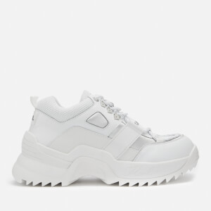 Karl Lagerfeld Women's Quest Hiker Leather/Textile Chunky Runner Style Trainers - White