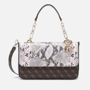 Guess Women's Logo Rock Top Handle Flap Bag - Brown Multi