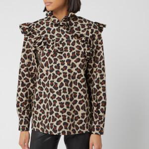 MSGM Women's Leopard Frill Detail Blouse - Beige