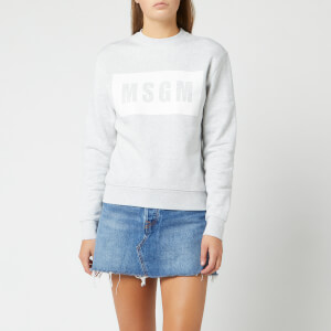 MSGM Women's Logo Tape Sweatshirt - Light Gray Melange