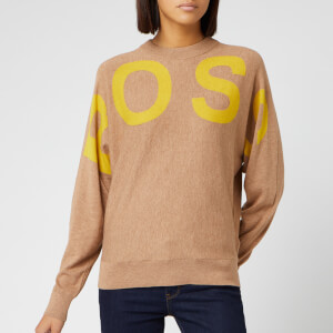 BOSS Women's Walci Logo Crew Neck Knitted Jumper - Camel
