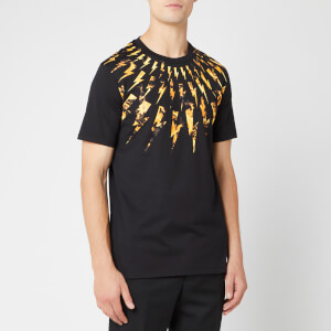 Neil Barrett Men's Flame Fairisle Thunderbolt T-Shirt - Black/Orange