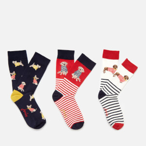 Joules Women's Brilliant Bamboo 3 Pack - Red Multi Dogs