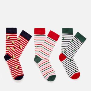 Joules Women's Cracking Sock 3 Pack - Red Multi Stripe