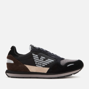 Emporio Armani Men's Zone Running Style Trainers - Black/Earth/Dark Brown