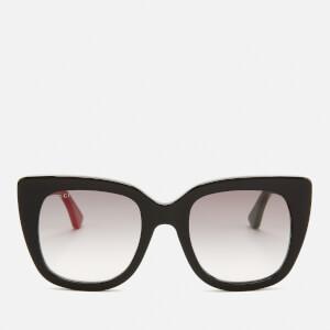 Gucci Women's Glitter Stripe Logo Sunglasses - Black/Grey