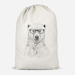 Polar Bear And Glasses Cotton Storage Bag