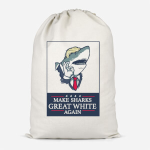 Make Sharks Great White Again Cotton Storage Bag