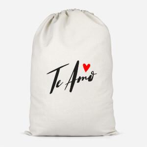 Te Amo Script Cotton Storage Bag