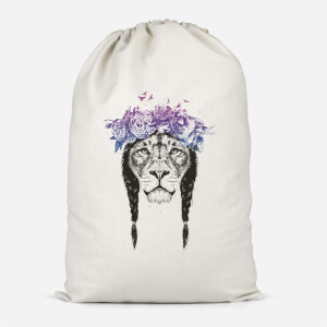 Lion And Flowers Cotton Storage Bag