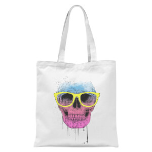 Skull And Glasses Tote Bag - White