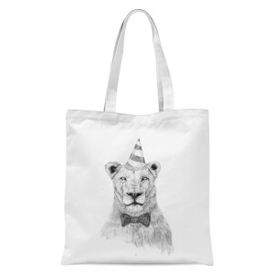 Party Lion Tote Bag - White