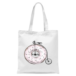 Donut Ride My Bicycle Tote Bag - White