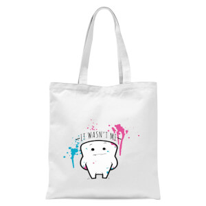 It Wasnt Me Tooth Tote Bag - White