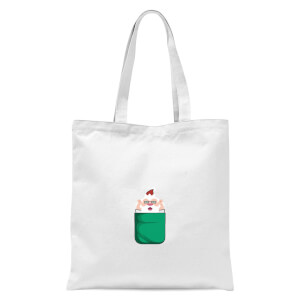 Christmas Santa Pocket Tote Bag - White