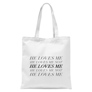 He Loves Me, He Loves Me Not Tote Bag - White